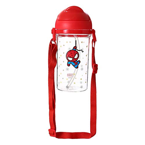 MINISO Marvel Water Bottle with Straw BPA-Free Strap Plastic Water Bottles for...