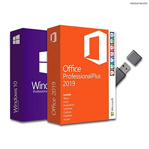 Windows 10 Professional & Office 2019 Professional Plus Bundle mit USB-Stick, Produktschlüssel