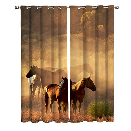 Yogaly Blackout Curtains Set for Kids Room Bedroom Livingroom Wild Horse Prined Curtains Heat Blocking Drapes Windows Treatment Curtains Grommet Top 40(W) X63(H) InX2