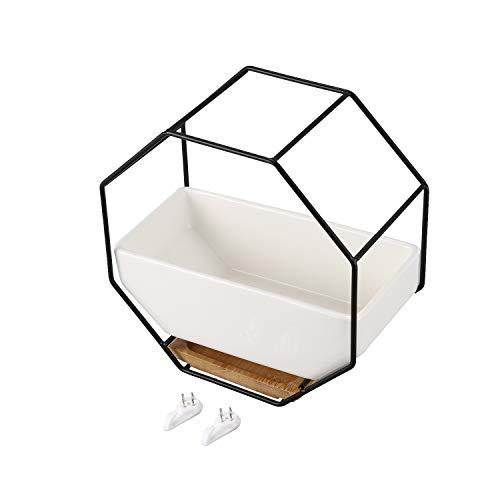 Gesh Minimalista octogonal geométrico colgante de pared mesa suculentas maceta de cerámica de bambú bandeja de marco de hierro set de manualidades regalo negro + blanco