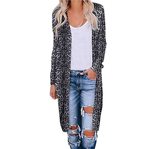 Damen Lang Leopard Cardigan Elegant Leo Strickmantel Open Front Langer Coat Herbst Winter Übergang Outwearjacke Parka Casual Jacke Overall Trenchcoat Stil Oversize