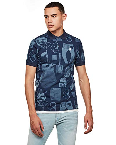 G-STAR RAW Mens Dunda Materials Slim Polo Shirt, avio Mono Objects C335-B643, Large