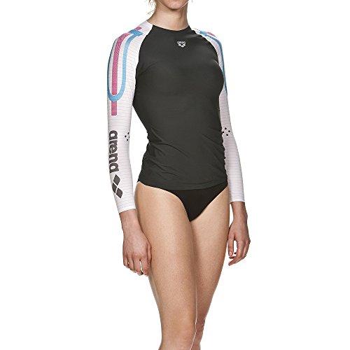arena Damen Schwimm Kompressionsshirt Carbon Langarm (Atmungsaktiv, Carbon-Material, Durchblutungsfördernd), Dark Grey-White (53), XS - 2