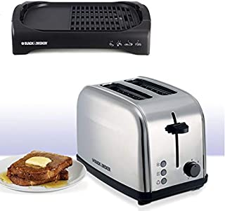 Black & Decker 2200W Health Grill Waffle Maker - Black [LGM70-B5] With Black & Decker 2 Slice Cool Touch Toaster - White [...
