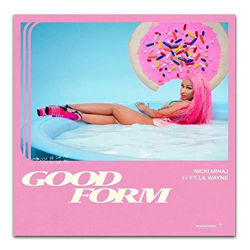 Art Nicki Minaj Good Form ft. Lil Wayne Rap Pop Music Cartel de lienzo personalizado para sala de estar Decoración del hogar -60x60cm Sin marco