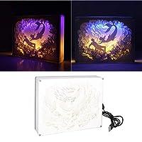Uonlytech Papercutライトボックス3d人魚紙彫刻シャドウムードライト装飾投影ナイトライト用子供キッズ友人