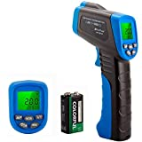 HOLDPEAK 981C Non Contact Digital Laser Infrared Thermometer Temperature Gun Instant-Read -58 to 1022℉ (-50 to 550℃) with 9V Battery and Emissivity 0.1-1.0(Adjustable)