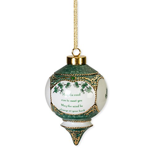 CBE Irish Blessing May The Road Rise to Meet You Shamrock Jewel Victorian 4.5 in. Ball Christmas Ornament