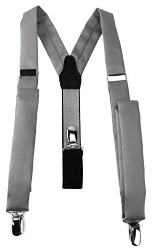 TigerTie schmaler Unisex Hosenträger in Y-Form mit 3 extra starken Clips - Farbe in grau einfarbig Uni - hochwertige Verarbeitung
