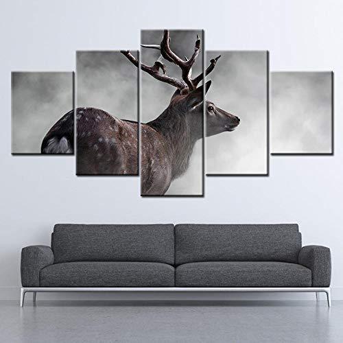 NJKSAXCDw HD Print Canvas Wall Art Soggiorno Decorazione Della casa Immagine Nebbioso Cervo Sika Carta da parati Pittura Poster animale Wok 150X80Cm Senza Cornice