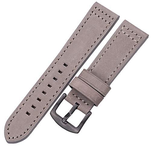 DALIANMAO Correa de Reloj de Relojes de Cuero Genuino para Mujeres Hombres 18 20mm 22 mm 24 mm de muñeca (Band Color : Gray Black Buckle, Band Width : 20mm)