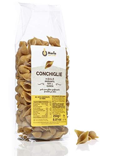 Conchiglie Con Farina Di Amaranto, Teff E Quinoa senza glutine per celiaci 4 conf. da 250gr. (totale 1Kg)