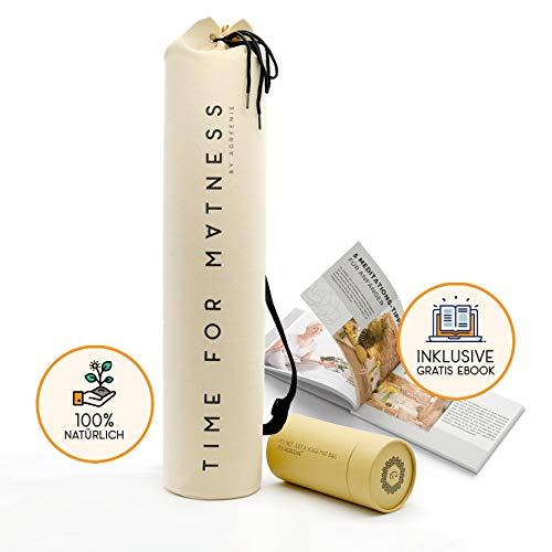 aGreenie® Premium Yogatasche - Design Time for Matness - 100% Baumwolle - Yoga Bag -Tragetasche für Yoga, Pilates, Fitness und Gymnastik Matten - inkl. Ebook