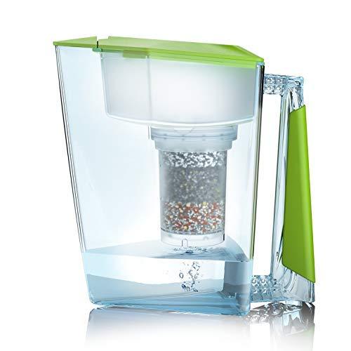 Filtre à eau bio de qualité supérieure fabriqué en Allemagne avec 1 carafe d'eau potable + 1 cartouche filtrante et pad de filtration (pour 3 mois) – Vert – Filtre à eau potable + verseuse