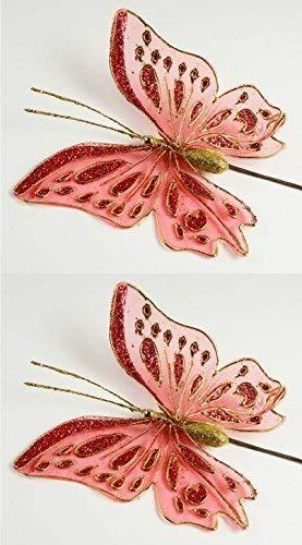 Papillons avec paillettes metallicrot le fil de fer, lot de 2, (l x l) : 17 x 17 cm biegbare ailes en métal/plastique