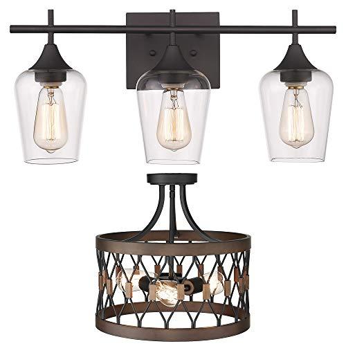Osimir 3-Light Bathroom Vanity Light Fixtures, Flush Mount Ceiling Light