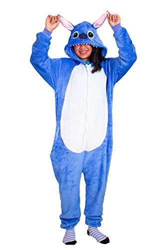 IBAX® Pijama para niños y Adultos, Ropa para Dormir de Animales y Personajes. (Stitch Azul, Infantil 95(110))