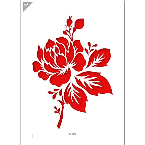 Qbix Flower Stencil - A5 Size - Reusable Kids Friendly DIY Stencil for Painting, Baking, Crafts, Wall, Furniture