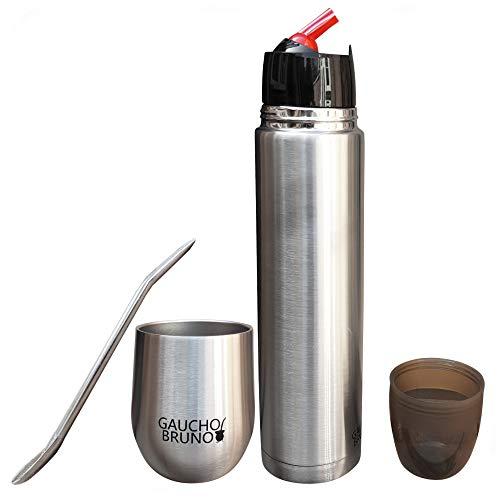 Gaucho Bruno - Yerba Mate Starter Kit con Tazza Mate Cup Termica in Acciaio Inossidabile, Borraccia e struttura in acciaio inox di alta qualità Facile da pulire
