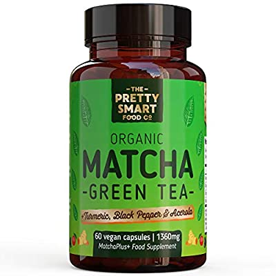 Powerful Green Tea Extract Capsules - Organic Matcha Green Tea Tablets - Boosted with Turmeric & Black Pepper for Superior Absorption - 1360MG Complex - Green Tea Supplement - 60 Capsules - UK Made
