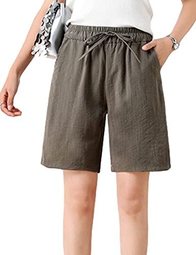 Yimoon Women's Casual Drawstring Elastic Waist Cotton Linen Knee Length Bermuda Shorts(Green-M)