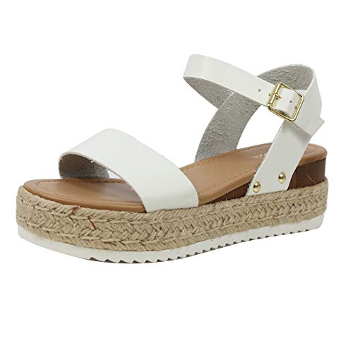 SODA Women's Open Toe Ankle Strap Espadrille Sandal, White, 6 M US