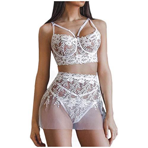 Conjunto de lencería erótica Sexy para Mujer Faldas Sujetador con Aros de Encaje Bordado para Mujer + Mini Falda de Malla Transparente con Tanga Conjuntos de 3 Piezas de lencería