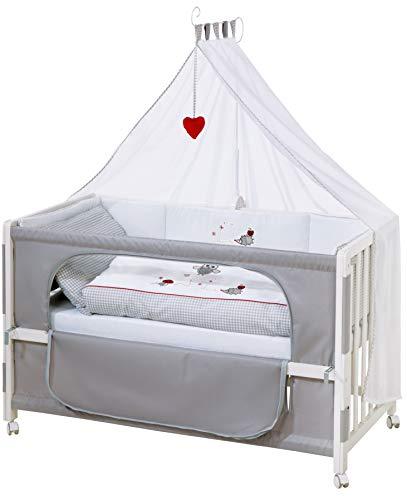 roba Beistellbett, Roombed, Babybett 60x120 cm 'Adam & Eule', Anstellbett zum Elternbett mit kompletter Ausstattung