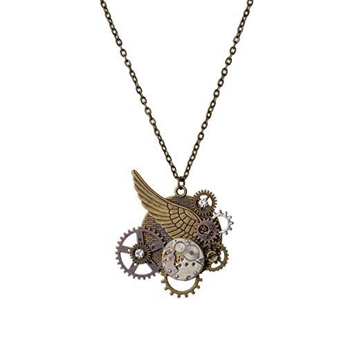 Steampunk Gears collar alas reloj colgante collar