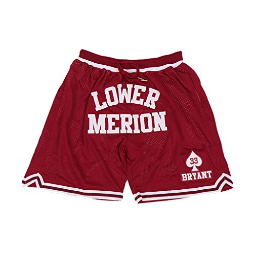 Men's Lower Merion #33 High School Basketball Shorts Sports Pants Stitched Red Size M