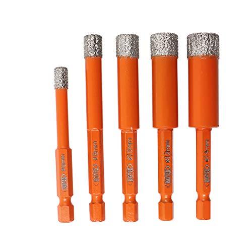 BGTEC Brocas de diamante en seco 5 piezas 6 mm 8 mm 10 mm 12 mm 14 mm con vástago hexagonal de cambio rápido para baldosas de porcelana de mármol de granito de cerámica