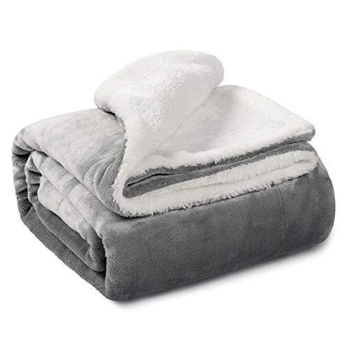 """TILLYOU Reversible Plush Sherpa Fleece Baby Blanket for Boys, Girls, Kids, Toddler, Infant, Newborn, 40""""x50"""" - Fuzzy Fluffy Warm Throw Blanket for Toddler Bed, Crib, Stroller, Bassinet, Pet, Gray"""