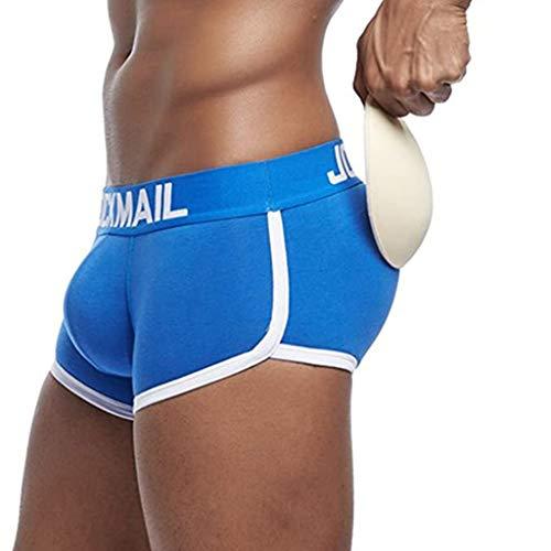 ZYX Hombres Acolchado Nalgas Potenciador Levanta Cola Pantalones Fajas Bañador Baúl de Ropa Interior a la Cadera -3 Piezas (Color : Blue, Size : Large)