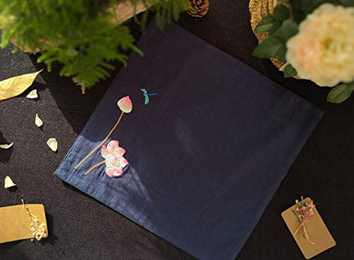 Z.L.FFLZ Embroidery Handkerchief Handkerchief Embroidered Floral Softness Ladies' Water-Absorbing Quick Dry Cotton Towel (Color : Black, Size : S)