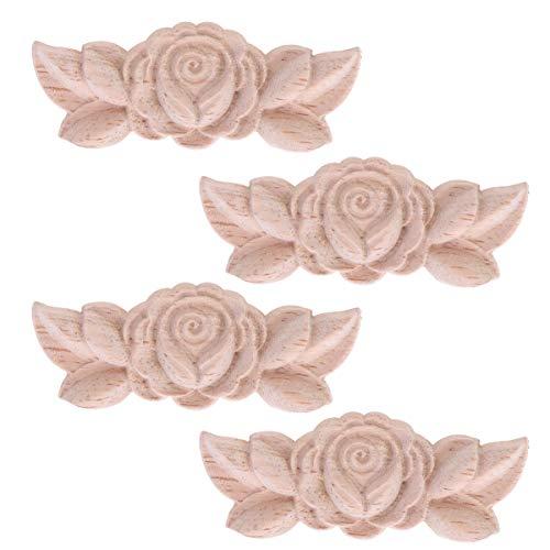 Artibetter 4 Stück Holzapplikationen im europäischen Stil geschnitzte Ecke Onlay Aufkleber Rose Blume Tür Schrank Dekoration für DIY Home Wall Decor 9 x 3,5 cm