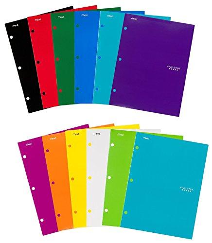 """Five Star Pocket Folders, 4-Pocket, 12-1/2"""" x 9-1/2"""", Assorted Colors, 12 Pack"""