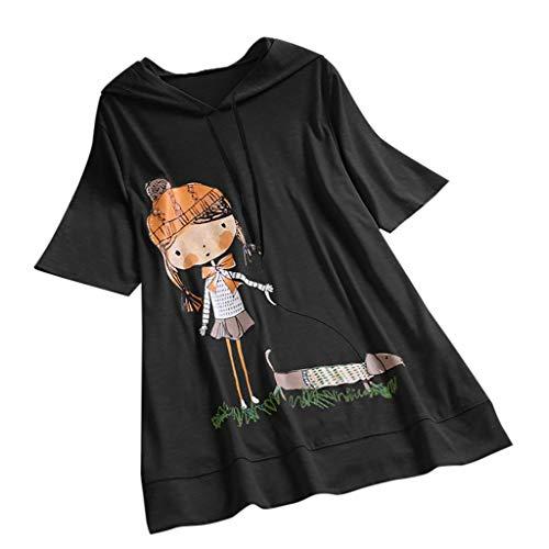 VEMOW Camiseta de Manga Corta con Capucha y Estampado de Dibujos Animados Casual para Mujer tamaño Extra Top Blusa(Negro,L)