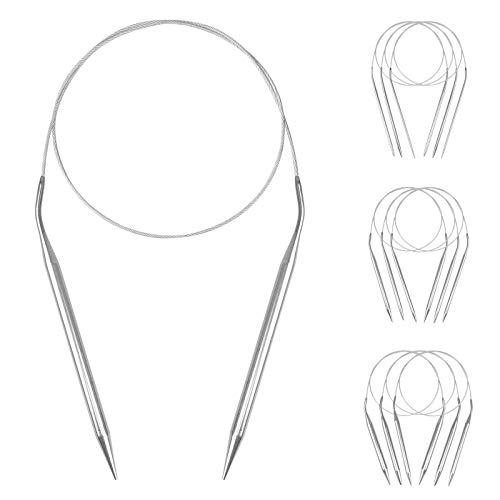 Circulares de ganchillo de acero inoxidable,9 unidades Agujas de punto circulares de acero inoxidable,para tejer, sombrero, sudadera, bufanda (81 cm)