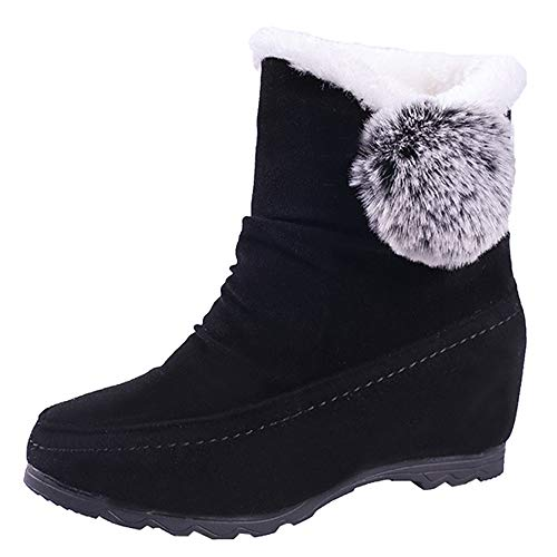 kaifongfu Women Wedges Shoes, Women Round Toe Keep Warm Slip-On Snow Boots (Black,38)