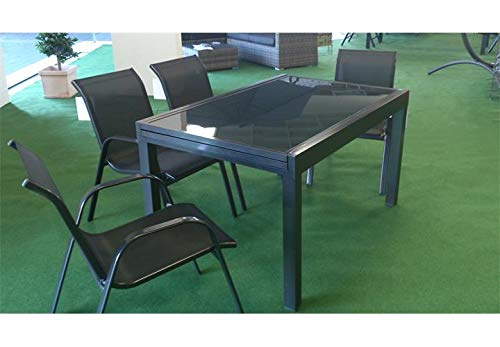 Lifestyle For Home Esstisch Outdoor Ausziehtisch Glasplatte Alu-Gestell anthrazit 140-280 cm