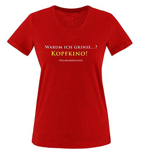 Comedy Shirts - KOPFKINO - Oscar - Damen V-Neck T-Shirt - Rot/Weiss-Gelb Gr. L