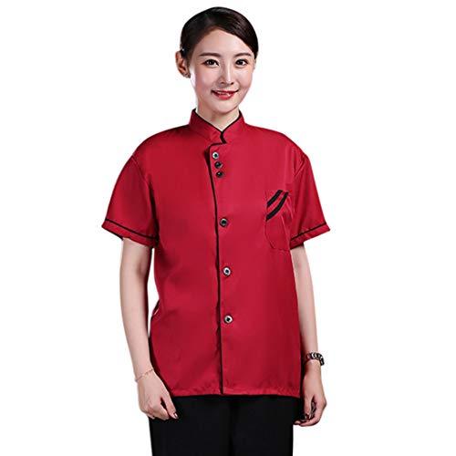 Freahap - Camisa Camiseta de Cocinero Cocina Uniforme Manga Larga Chaqueta de Chef Camarero para Hombres y Mujeres para Restaurante Hotel #4 M