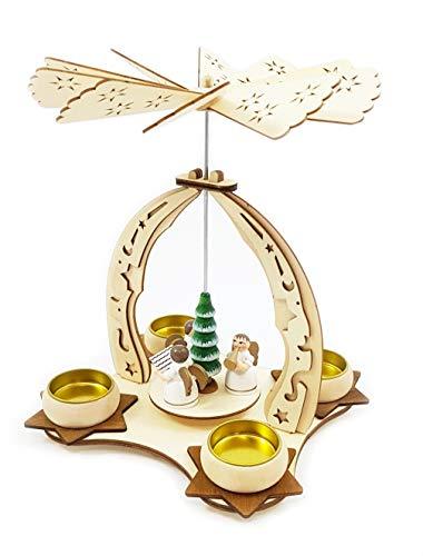 Wichtelstube-Kollektion Holz Teelicht Weihnachtspyramide f. Teelichter Weihnachten Engel Chor H:24cm