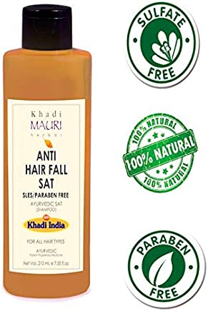 Khadi Mauri Herbal Anti Hairfall Shampoo 210 ml - SLES & PARABEN FREE - Prevents Hair Fall & Strengthens Hair Follicles - Enriched with Amla, 210 ml