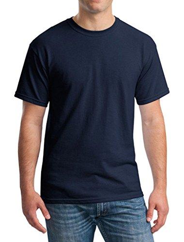 Bigood T-Shirt Coton Homme Haut Tops Manche Courte Col Rond Chemise Blouse Eté Casual Bleu Foncé Bust Largeur 50cm