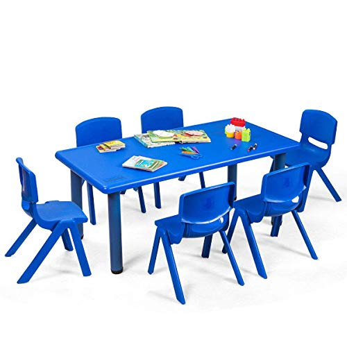 Costzon Kids Table and Chairs Set, 6 Pcs Stackable Chairs, 47 x 23.5 Inch Rectangular Plastic Activity Table Set for Children Reading Drawing Playing Snack Time, Toddler School Furniture (Blue)