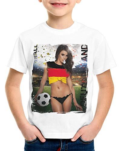 style3 EM 2020 Soccer Girl Deutschland T-Shirt für Kinder Fußball Trikot Germany Weiss, Größe:140, Land:Deutschland