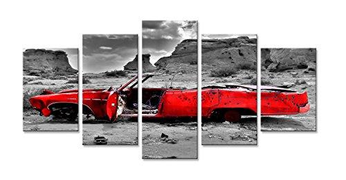 Visario Leinwandbild, rot schwarz weiß