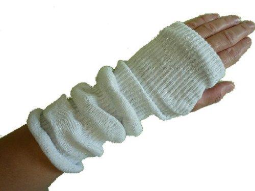 alles-meine.de GmbH weiß - silberfäden - Pulswärmer / Stulpen Stulpe - Armstulpen Muff Müffchen mit Glitzer Effekt
