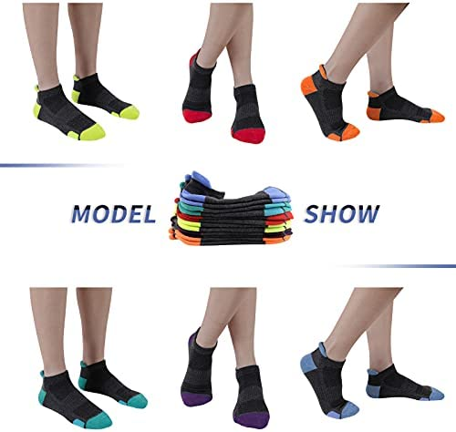 Mens Ankle Athletic Sports Running Tab Low Cut Cushioned Socks 6 Pack